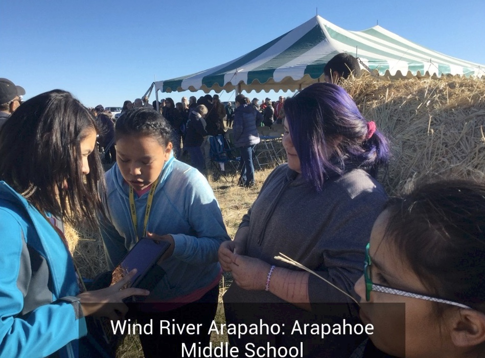 Students outside Arapahoe Middle School in Wyoming
