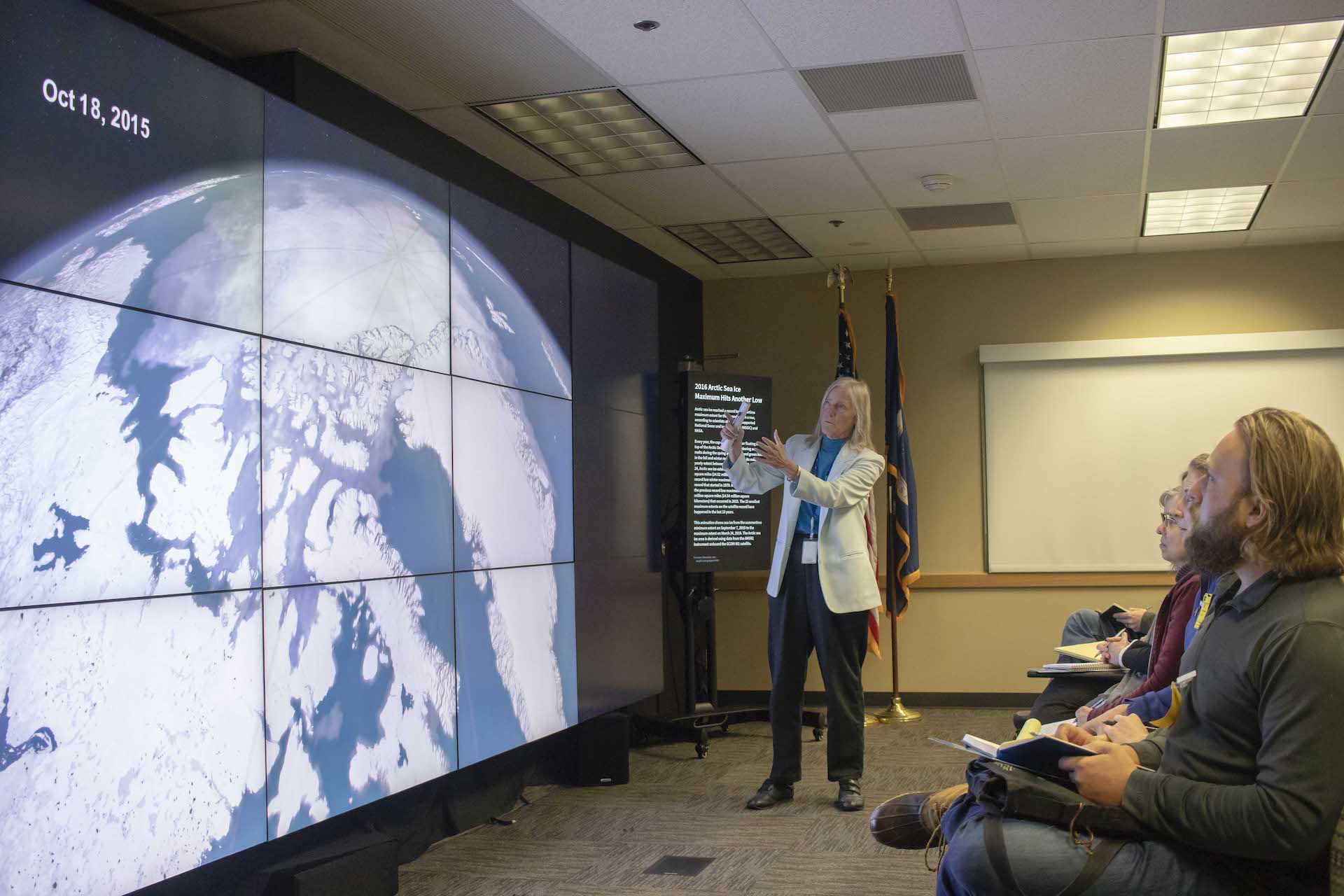 Dr. Claire Parkinson describing visualizations of changes in arctic ice depicted on Goddard's hyperwall